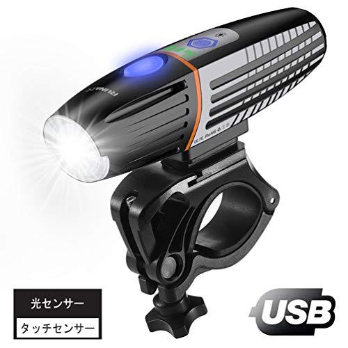 RUNACC 自転車ライト 充電式 光センサー・タッチセンサー機能搭載 日本語取扱説明書付き IPX6防水 七つの点灯モード