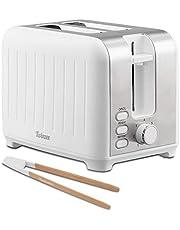 Twinzee - Toster z szerokim otworem 3 w 1 - biały matowy stal szlachetna, toster retro - gratis szczypce bambusowe - 7 poziomów opiekania - nasadka na bułki i szuflada na okruchy