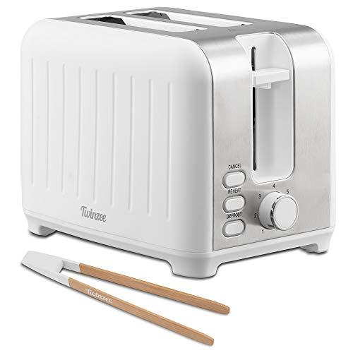 Twinzee - Toaster mit Breitem Schlitz 3 in 1 - Weiß Matt Edelstahl, Retro-Toaster - Gratis Bambus-Zange - 7 Bräunungsstufen - Brötchenaufsatz und Krümelschublade