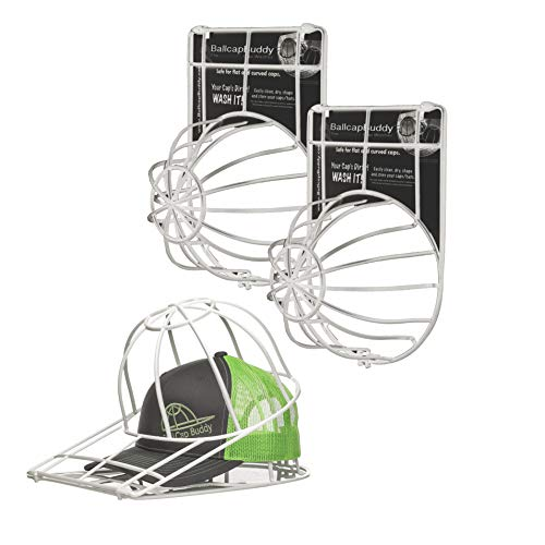 Ballcap Buddy Cap Washer Original Patented Hat Washer Ball Cap Cleaner Frame Used in Dishwasher/Washing Machine Adult & Youth Endorsed by Shark Tank - Made in USA - 2-Pack White