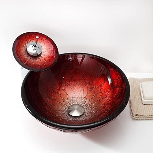 PHOOW lavamanos Bano Lavabo de encimera para baño Moderno Redondo de Cristal Templado de Vidrio Lineal diseño de baño. (Size : A)