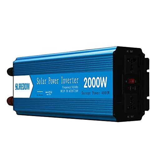 GXYAWPJ Inversor de Onda Sinusoidal de Alta Potencia Pico 4000 Vatios CC 12' 24 V a 110' 220 V CA Adaptador de Coche Convertidor de Potencia Multifunción con Ventiladores de Refr(Size:4000W,Color: