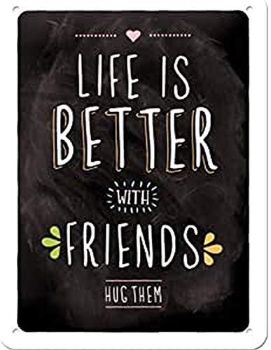 Nostalgic-Art Retro Blechschild Word Up – Life is Better with Friends – Geschenk-Idee für Freunde, aus Metall, Vintage-Design mit Spruch, 15 x 20 cm