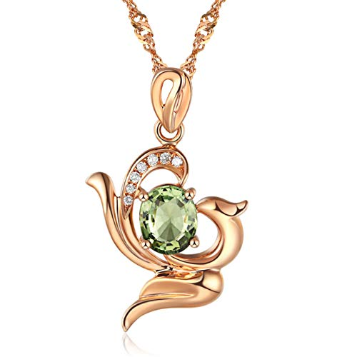 Women Necklace 925 Sterling Silver Rose Gold Plated Birthstone Pendant Necklaces for Women 14k White Gold Plated for Women Jewelry Birthday Gift Infinity Heart Pendant
