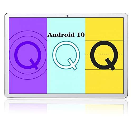 Tablet 10 Pollici,Processore Octa-Core,4GB RAM + 64GB ROM,8000mAh,Fotocamera 5+8MP,128GB Espandibili,4G Dual SIM,Type-C,Bluetooth 5.0 GPS Cellulare (64GB, Argento)