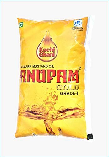 Anupam Gold Mustard Oil (Kachi Ghani) for Cooking Oil Pouch 1 Liter (Home Pantry Groceries Items Kitchen and Home Healthy Cooking...