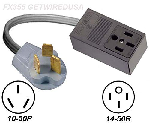 3-Pin 10-50P Male Plug To 4-Pin 14-50R Female Socket Receptacle, 220/250V Stove Range Oven Electrical Power Outlet Convert/Adapter
