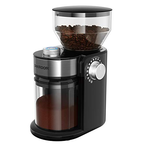 SHARDOR Electric Burr Coffee Grinder, Adjustable Burr Mill with 18 Precise Grind Setting for 2-14 Cups, Black