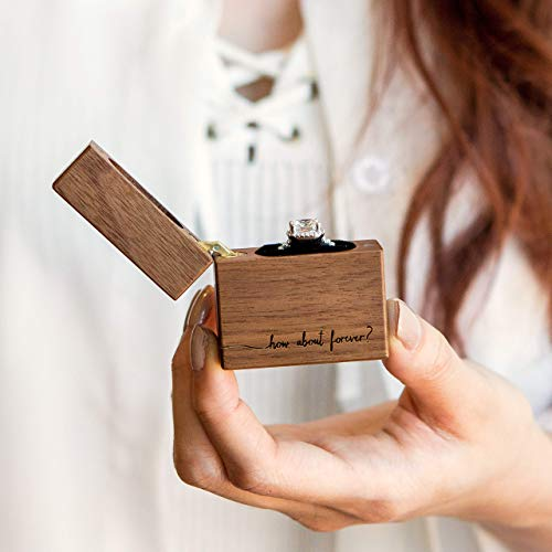 How About Forever? Engraved Ring Box - Portable Slim Walnut Wood Ring Box for Proposal, Engagement, Wedding