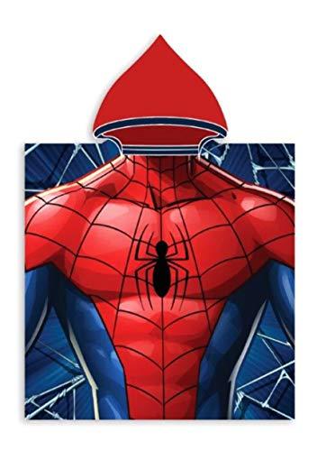 Badetuch Bademantel Kapuzen Poncho für Kinder Baumwolle – wählbar: Super Wings Cars Avengers Mickey Paw Patrol Spiderman Ninja Superman – tolles Geschenk für Jungen (Spiderman 02)
