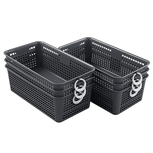 Minekkyes Confezione da 6 cestini portaoggetti in plastica, cestini per ripiano piccoli con manici, grigio
