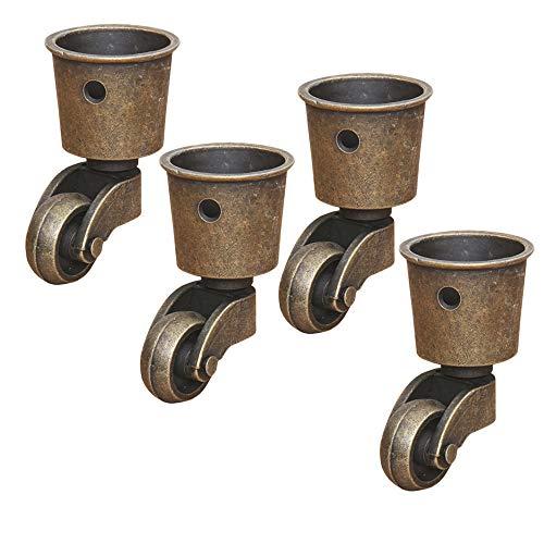4 roulettes Pivotantes en Laiton Massif, Roulette de Meuble Haut de Gamme, Charge 440 Lbs, pour Canapé Table Basse Piano, avec Vis