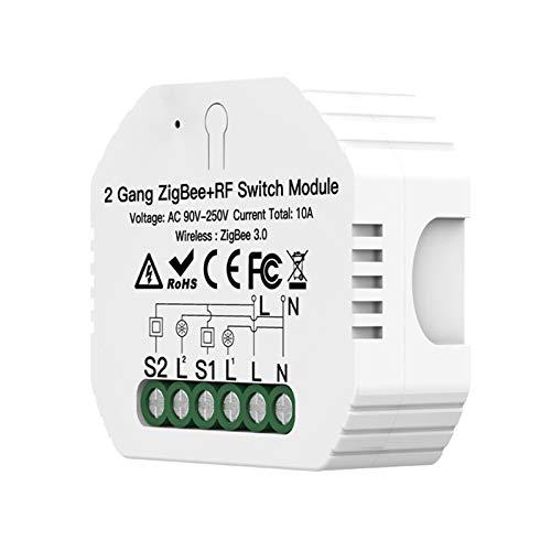 Adaskala Módulo de Interruptor ZigBee de 2 Bandas Diseño Oculto ZigBee 3.0 Interruptor de luz Inteligente Control de Voz Compatible con/Home App Control RF433 Control Remoto Módulo de