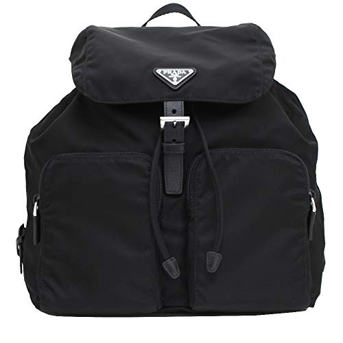 "Prada Zainetto Unisex Black Tessuto Nylon Backpack Rucksack 1BZ005 Black nylon with Saffiano leather trim shows off the steel hardware and enameled Prada triangle logo. Features: Double adjustable shoulder straps 10""-13"" drop, Single nylon top handle..."