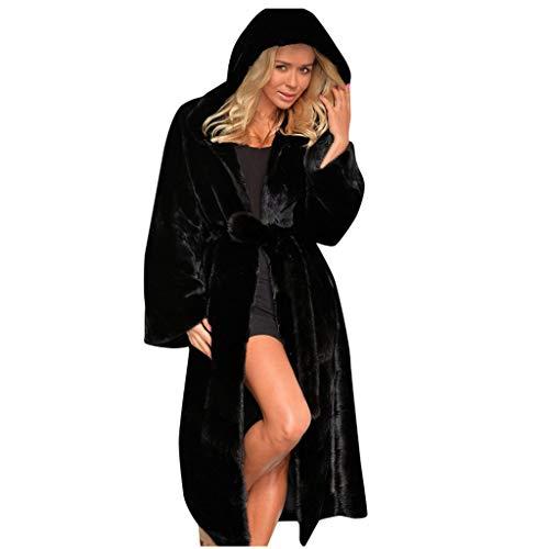Lulupi Damen Fellmantel Lange Warm Winter Mantel Kleid Faux Fur Kunstfell Winterjacke Frauen Elegant Kunstpelz Pelzmantel mit Kapuze und Gürtel S-4XL