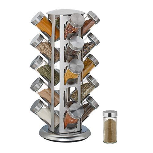 Relaxdays Especiero con 20 tarros, Giratorio 360°, Acero Inoxidable, Cristal, Altura 39 x 22 cm, Estante Redondo para Especias, Color Plateado, Plata, 1 Unidad