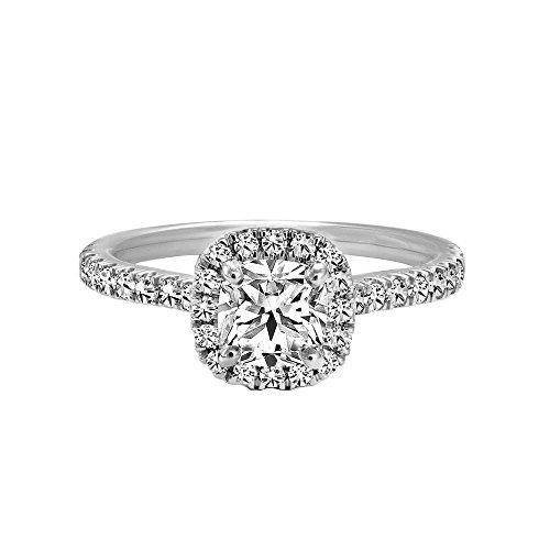 Triostar Women's 1.30 Ct Cushion & Round Diamond 14K White Gold Plated Halo Engagement Ring