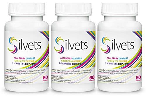 Silvets (3x) Voedingssupplement met L-carnitine, acaibes, guarana, groene thee, cayennepeper, helpt om een gezond gewicht te behouden, geschikt voor vegetariërs (180 capsules)
