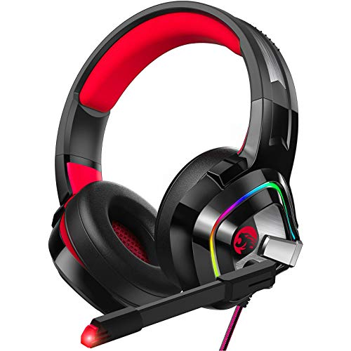 ZIUMIER Z66 Gaming Headset für PS4, Xbox One, PC, kabelgebundene Over-Ear-Kopfhörer mit Geräuschisolierungs-Mikrofon, LED RGB Licht, Surround Sound für Laptop, Computer, Nintendo Switch, Rot