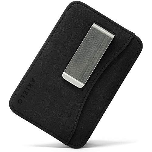 AKIELO Tarjetero de Hombre Bloqueo RFID con Clip para Billetes y Caja Regalo – Cartera de Hombre Superdelgada y Minimalista (Colección Charlie)