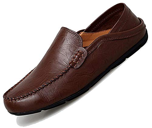 Go Tour Men's Premium Genuine Leather Casual Slip On Loafers Breathable Driving Shoes Fashion Slipper Dark Brown 45