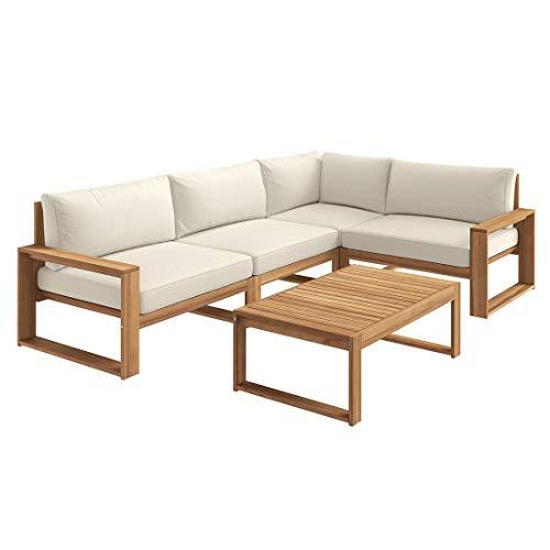 OUTLIV. Santa Cruz Loungeecke, Loungegruppe, Sitzecke, Gartenlounge aus Akazienholz mit 13 cm starken Polstern aus Polyester. 5tlg