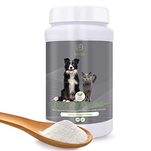 Nutrani Fleischknochenmehl für Hunde und Katzen | 1 kg - 100% natürliches und reines Knochenmehl zur Stärkung von Knochen und Gelenken und zur Ergänzung beim Barfen | 1000 g