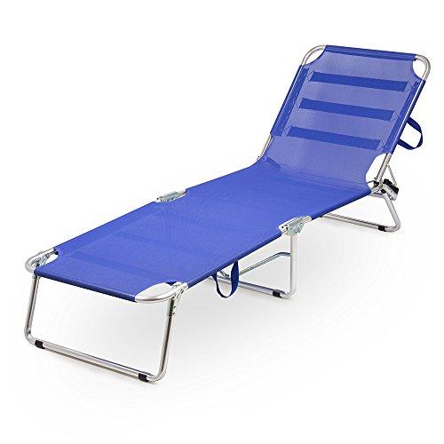 Lettino bradina prendisole in alluminio pieghevole blu per spiaggia mare giardino 05040
