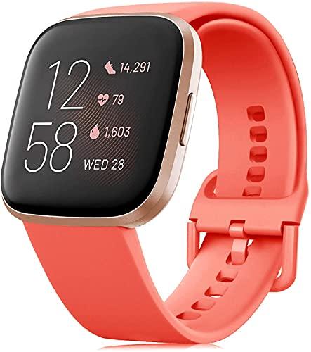 RIOROO Correa Compatible para Fitbit Versa Pulsera/Versa 2 Correa/Versa Lite Correas/Blaze Pulseras,Silicona Banda de Relojes para Hombres Mujeres, Deportivo Recambio de Pulsera Coral,L