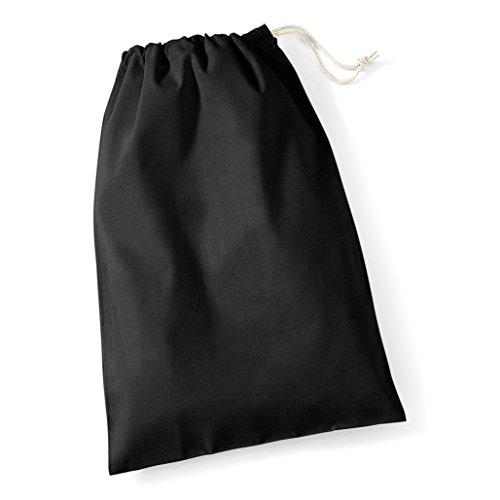 Westford Mill Baumwollbeutel Cotton Stuff Bag - neue Farben 2017 Schwarz 25x30 - S