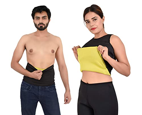 VALITUDO® Shaper Belt Non-Tearable Tummy Trimmer Slimming Belt for Men & Women (Size M, L, XL, XXL, 3XL, 4XL) (Black)