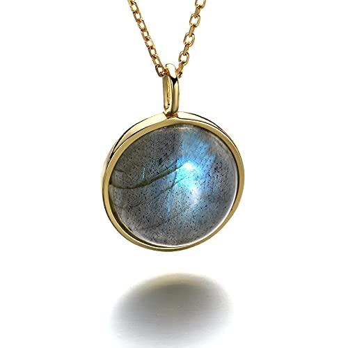 Light Jewelry Retro Full Moon Series Labradorite Pendant Female 925 Sterling Silver Necklace