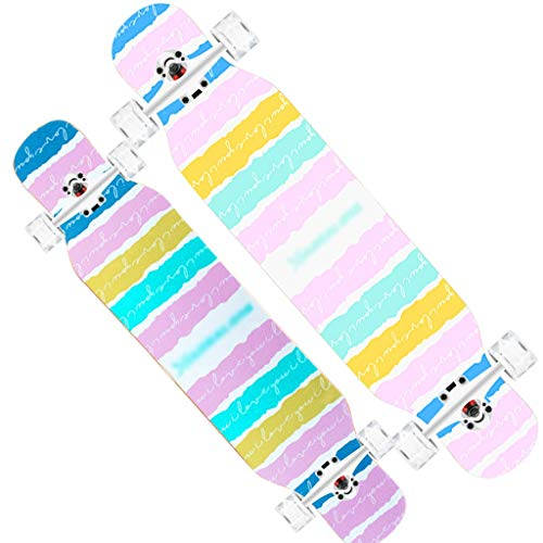 MKJYDM Scooter Maple Long Board Brush Street Dance Board Cuatro Ruedas Doble patineta Principiante Teen Boy Girl Profesional Skateboard (con Flash Wheel) patineta (Color : H)