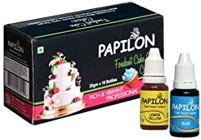 Papilon Concentrated Gel Food Colour Pack of 20gm x 10 Bottles
