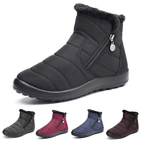 gracosy Warm Snow Boots Outdoor for Women Winter Fur Lining Shoes Anti-Slip Lightweight Ankle Bootie Waterproof Slip on Sneakers Black 7.5 M US