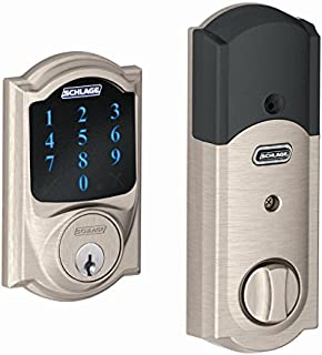 Schlage Z-Wave Connect Camelot Touchscreen Deadbolt with Built-In Alarm, Satin Nickel, BE469 CAM 619, Works with Alexa via SmartThings, Wink or Iris