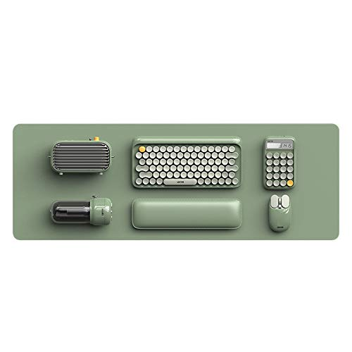 GWX Draadloos mechanisch Bluetooth-toetsenbord, ronde knop, dual modus met monochrome LED-achtergrondverlichting, luidspreker, rekenmachine, muisset (groen)