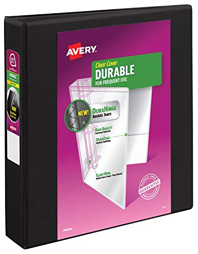 "Avery 17021 Durable View Binder w/Slant Rings, 11 x 8 1/2, 1 1/2"" Cap, Black"