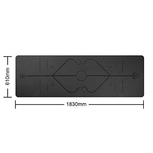 ZALE - Esterilla de yoga útil, antideslizante con línea de posicionamiento, esterilla de yoga Yogatoes, TPE, portátil, multicolor, para principiantes, tamaño negro