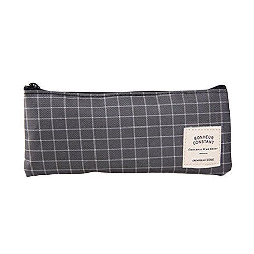 Haodou Pencil Case Grey Mesh Oxford Cloth Pen Pouch Bag with Zipper for Boys Girls Kids Children Students