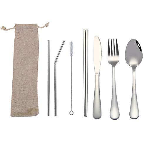 Conjuntos de vajillas Cutlery Set Travel Camping Cubiertos Conjunto de cubiertos reutilizables con cuchara de metal, tenedor, palillos y estuche (Color : Silver B)
