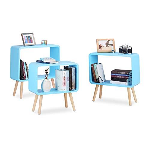 Relaxdays staande rekken klein, kubusrekken in 3-delige set, open bijzettafels met 4 poten, kubusrekken hout, MDF, blauw
