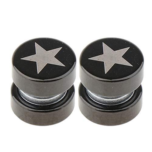 joyMerit 1 Par de Pendientes Magnéticos con Clip No Perforante para Hombres Y Mujeres - Estrella