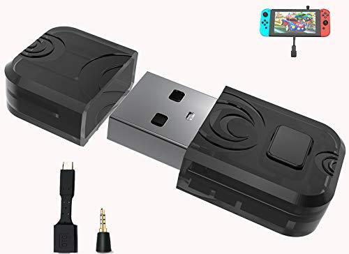 AQCTIM Adaptador de audio inalámbrico Bluetooth para Switch/PS3/PS4/PS5/Xbox/Mac/PC, convertidor de micrófono, receptor de micrófono, auriculares USB, Dongle Micro adaptador