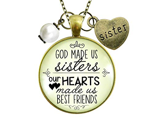 gutsy goodness friend pendants Gutsy Goodness Sisters Necklace God Made Us Sisters Best Friends Faith Jewelry Gift 24