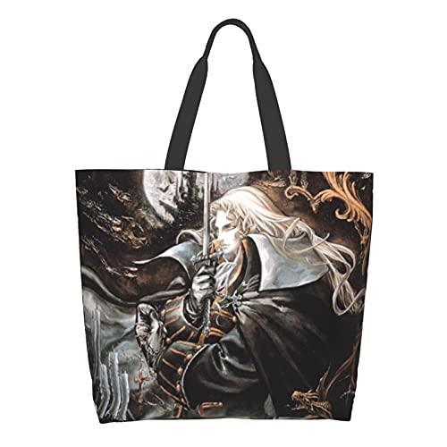 悪魔城ドラキュラ (2) ファッション 便利袋 ワンショルダーコンビニエンスバッグ 大容量ショルダーバッグ 防水性と耐摩耗性 環境にやさしいショッピングバッグ 多機能 ポータブル収納