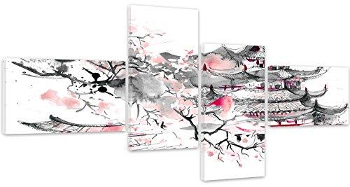 Feeby. Quadro multipannello - 4 Parti - Quadro su Tela, Arte Murale Stampata, Stampa Artistica, Canvas, Tipo Z, 160x80 cm, Giappone, ARCHITETTURA, Grigio