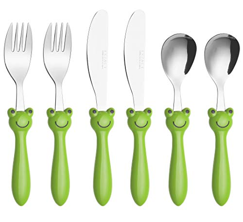 EXZACT Edelstahl 6-tlg Kinderbesteck Set - 2 x Gabeln, 2 x Tafelmesser, 2 x Abendessen Löffel (6 x Frosch)