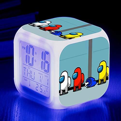 fdgdfgd Reloj Despertador 3D decoración Digital Cuadrado LED estatuilla Divertida niño Reloj Despertador con Fecha Brillante con termómetro