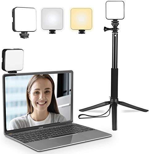 El Kit de iluminación de videoconferencia LUOWAN es Recargable, con trípode, lámpara de pie para computadora portátil, Escritorio, para reuniones remotas, Aprendizaje, transmisión en Vivo.